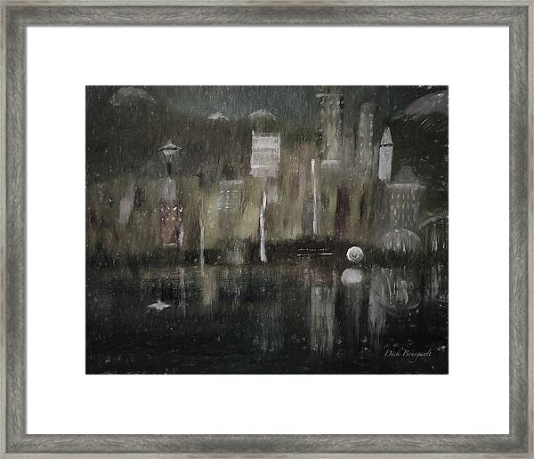 Seattle In The Rain Cityscape Framed Print