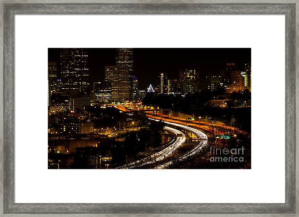 Seattle Light Trails Framed Print