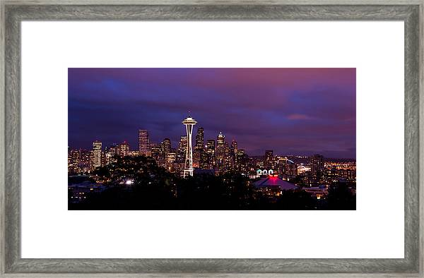 Seattle Night Framed Print