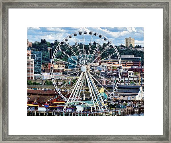Seattle Port Ferris Wheel Framed Print