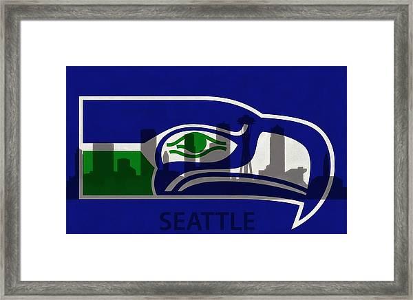 Seattle Seahawks On Seattle Skyline Framed Print