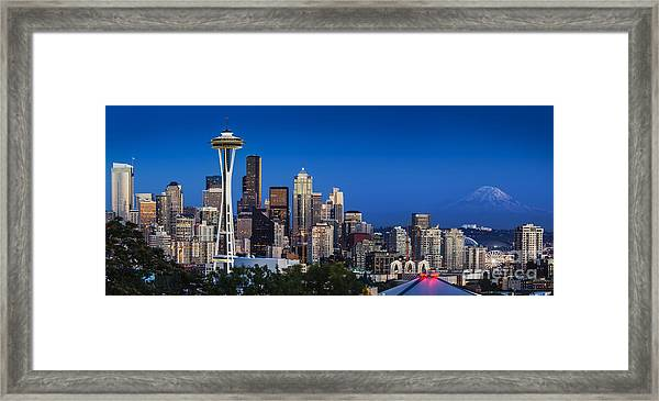 Framed Print featuring the photograph Seattle Skyline Panoramic by Brian Jannsen