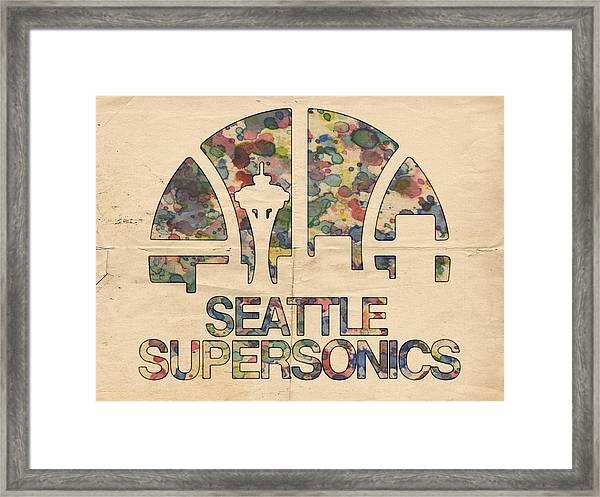 Seattle Supersonics Poster Vintage Framed Print
