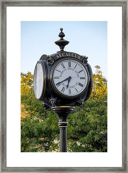 Framed Print featuring the photograph Secaucus Clock Marras Drugs by Susan Candelario