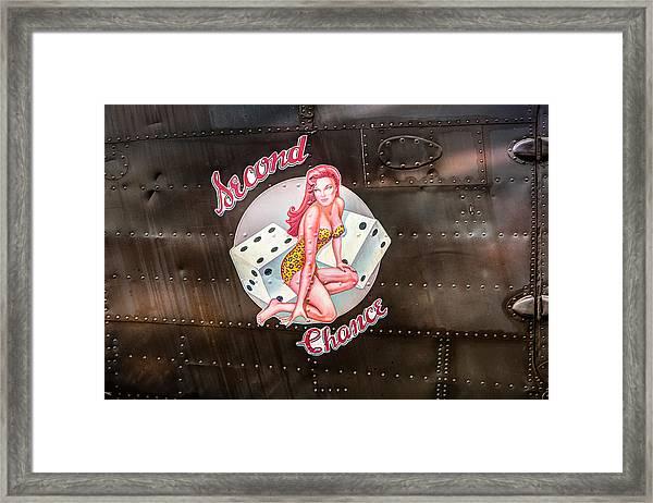 Second Chance - Aircraft Nose Art - Pinup Girl Framed Print