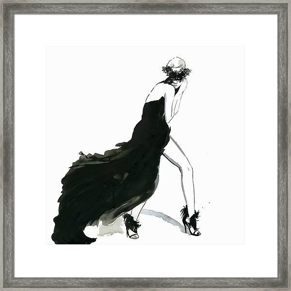 Seductive Woman Posing Wearing Flowing Framed Print