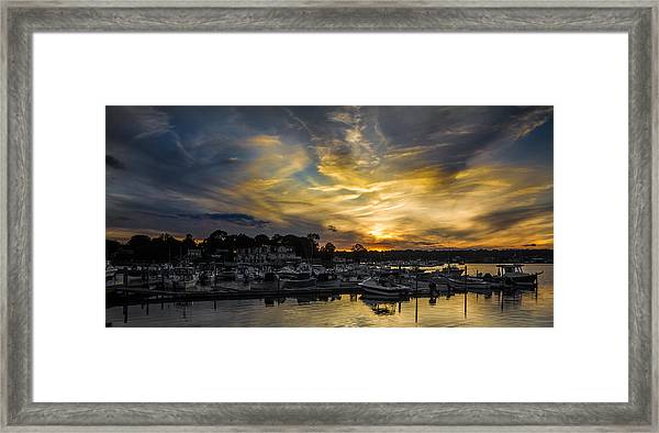 Selective Color Sunset - Mystic River Framed Print