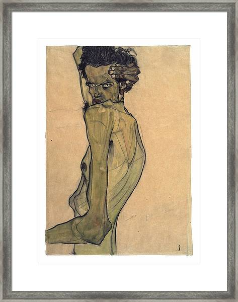 Self-portrait With Arm Twisted Above Head Framed Print