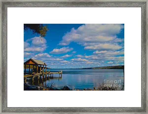 Seneca Lake At Glenora Point Framed Print