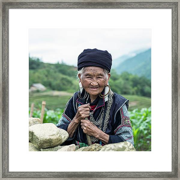 Senior Woman Of Black Hmong Hill Tribe Framed Print by Martin Puddy