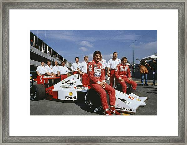 Senna With Mclaren Team Framed Print by Getty Images
