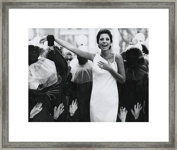Senora Antonio Mayrink Veiga On A Street In Rio Framed Print