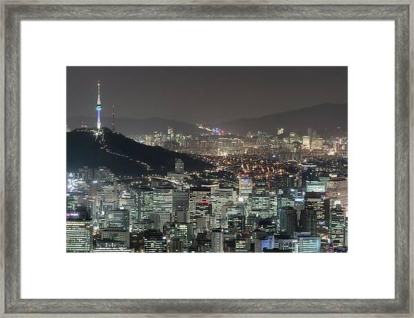 Seoul City Skyline At Night Overview Framed Print