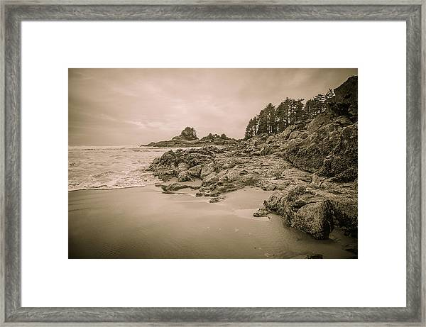 Cox Bay Sepia Framed Print