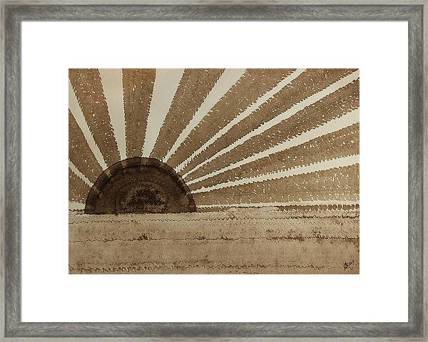 Sepia Sunset Original Painting Framed Print