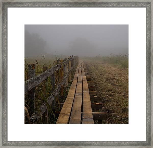 September Mist Hdr - Foggy Day Over Walk Way Framed Print