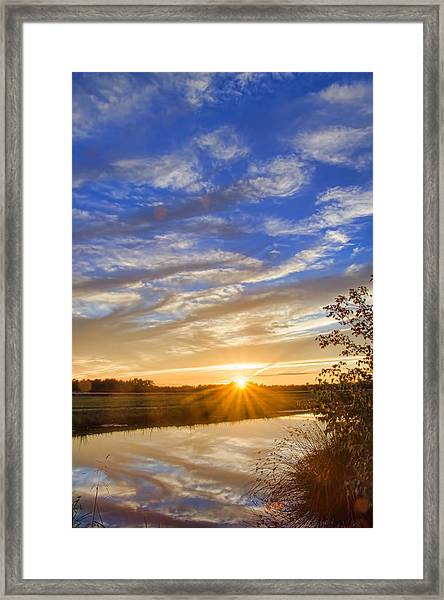 Framed Print featuring the photograph September Sky Reflection by Beth Sawickie