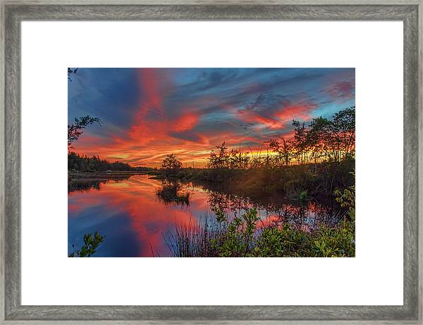Framed Print featuring the photograph September Sunset Reflection by Beth Sawickie