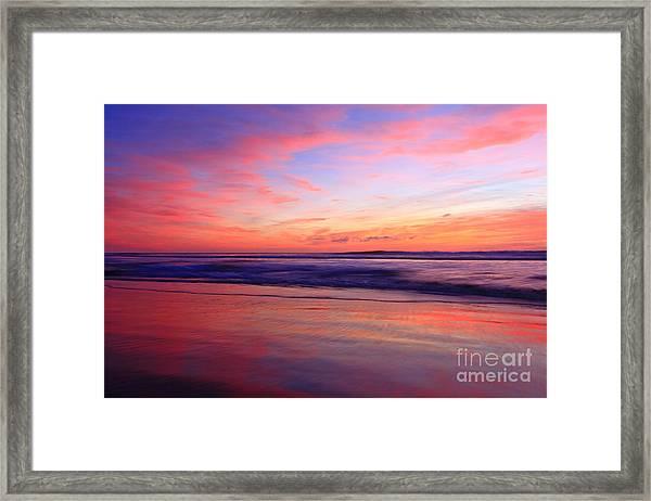 Serene Oceanside Glow Framed Print