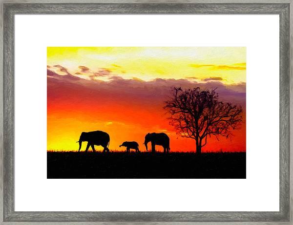 Serengeti Silhouette Framed Print
