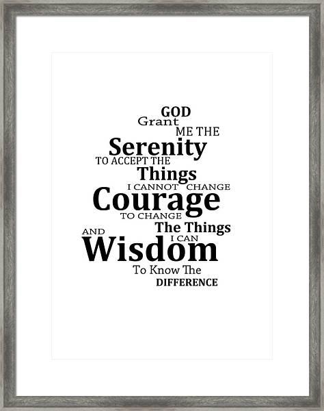 Serenity Prayer 6 - Simple Black And White Framed Print