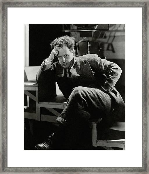 Sergei Eisenstein Sitting On A Staircase Framed Print