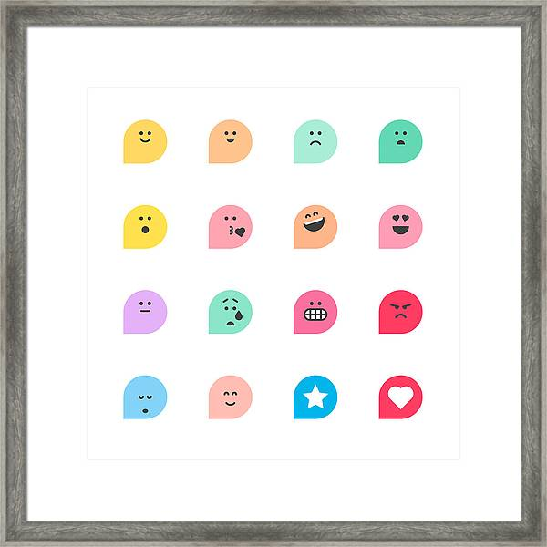 Set Of Basic Emoticons Reactions Framed Print by Calvindexter