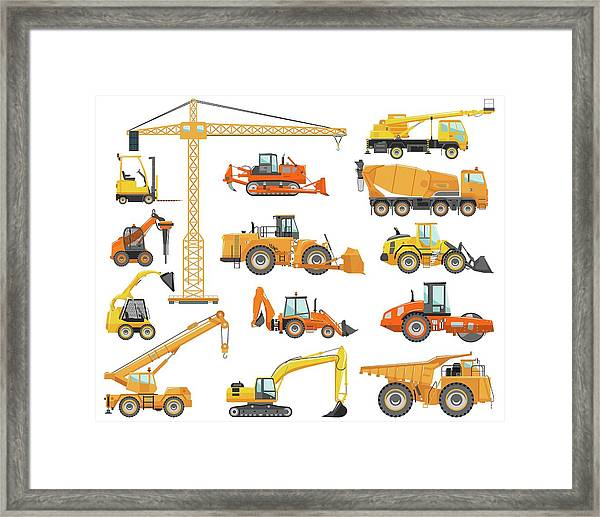 Set Of Detailed Heavy Construction And Framed Print by Alexyustus