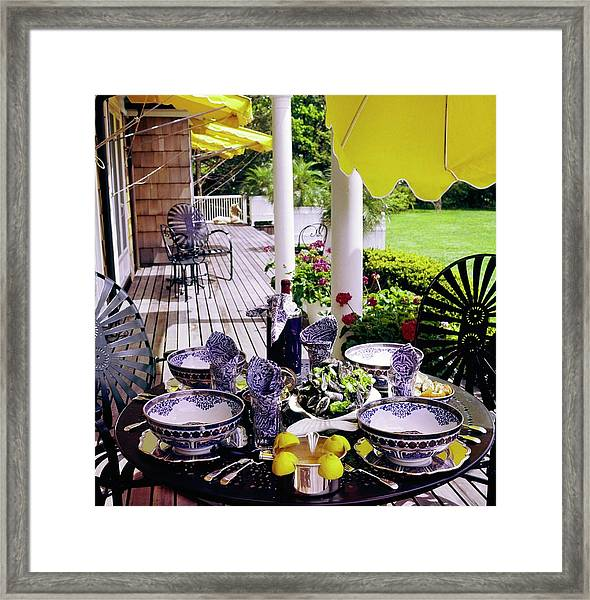 Set Table On A Desk Framed Print