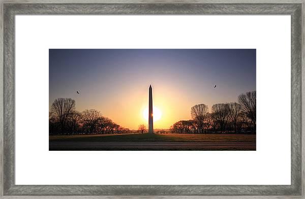 Setting Sun On Washington Monument Framed Print