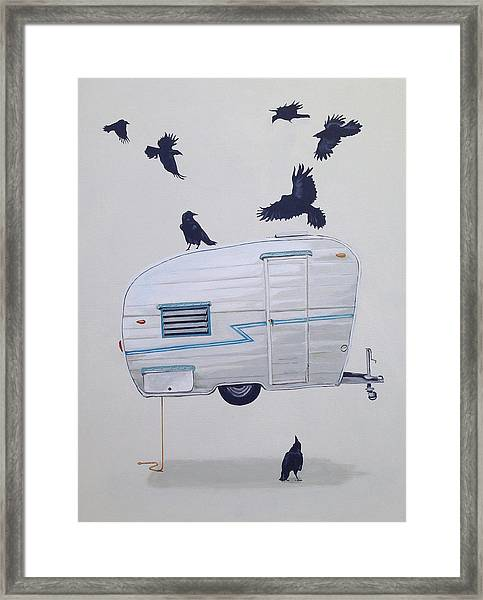 Seven Crows And A Canned Ham Framed Print