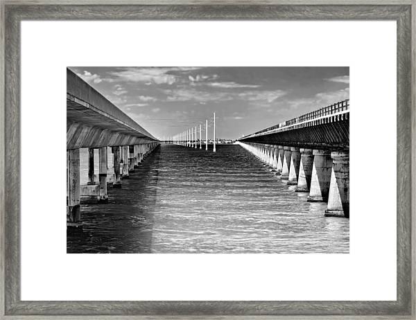 seven mile bridge BW Framed Print