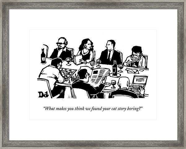 Seven People Are Seen Sitting At A Table Framed Print