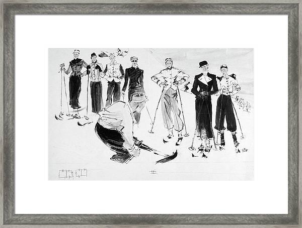 Seven Women Wearing Ski Outfits Framed Print by Rene Bouet-Willaumez