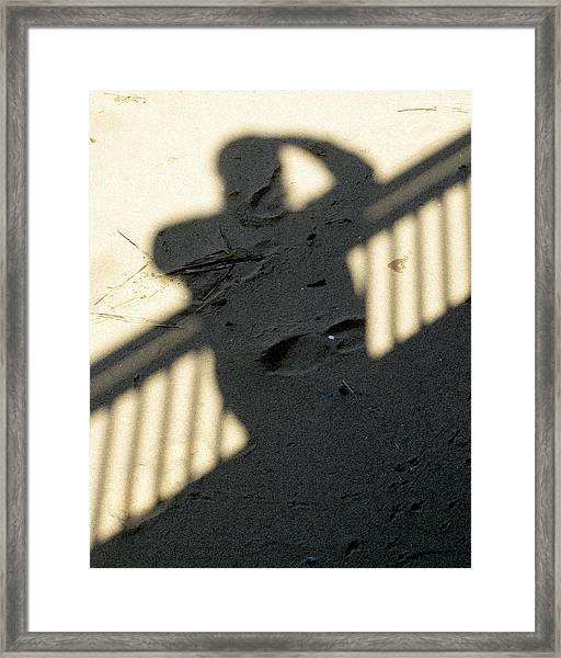 Framed Print featuring the photograph Shadow In The Sand by Bob Slitzan