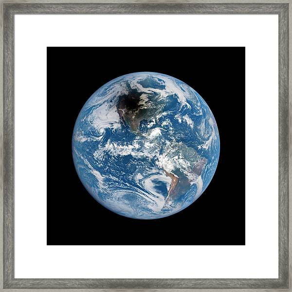 Shadow Cast By 2017 Total Solar Eclipse Framed Print by Nasa Epic Team/science Photo Library