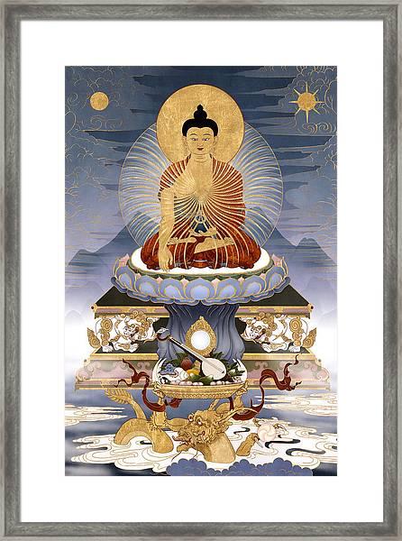 Shakyamuni Buddha - The Dragons Story Framed Print by Ben Christian