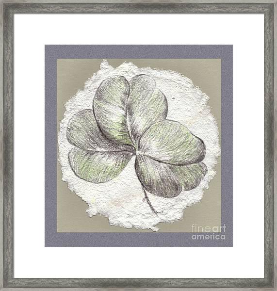 Shamrock On Handmade Paper Framed Print