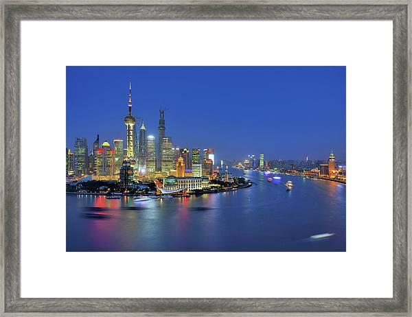 Shanghai Cityscape Across Huangpu River Framed Print