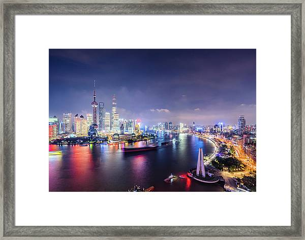 Shanghai Skyline At Night Framed Print by Yongyuan Dai