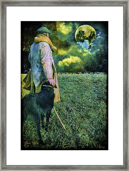 Shepherd And Moon Framed Print