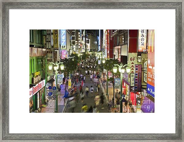 Shinjuku Street Scene At Night Framed Print
