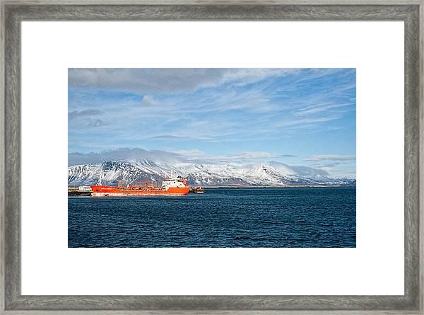 Ship In The Old Harbor II Framed Print