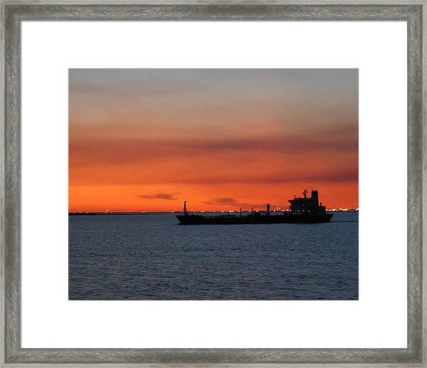 Ship Outbound Framed Print