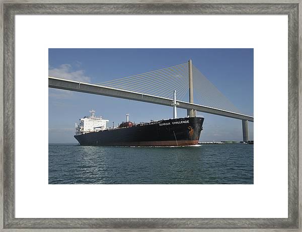 Ship Under Sunshine Skyway Bridge Framed Print