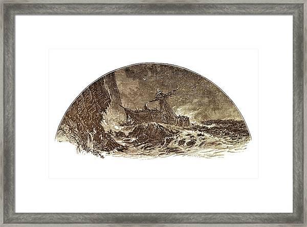 Shipwreck Illustration Framed Print