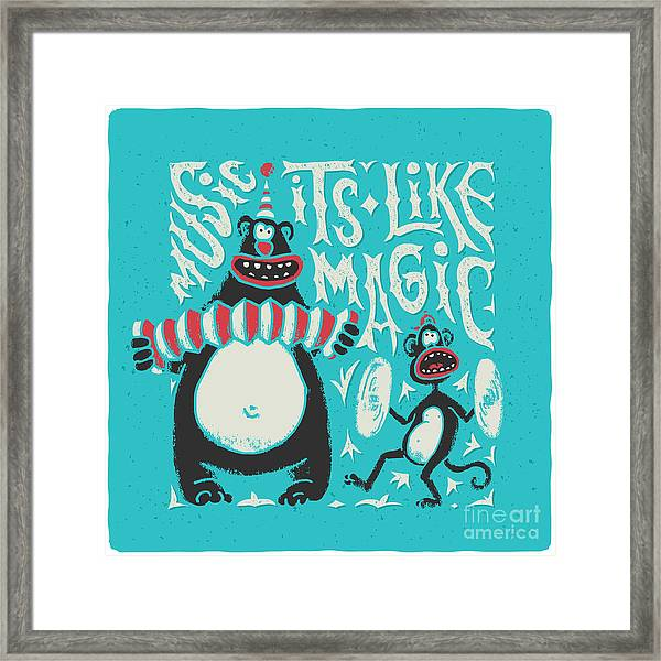 Shirt Print With Band Of Circus Monkey Framed Print