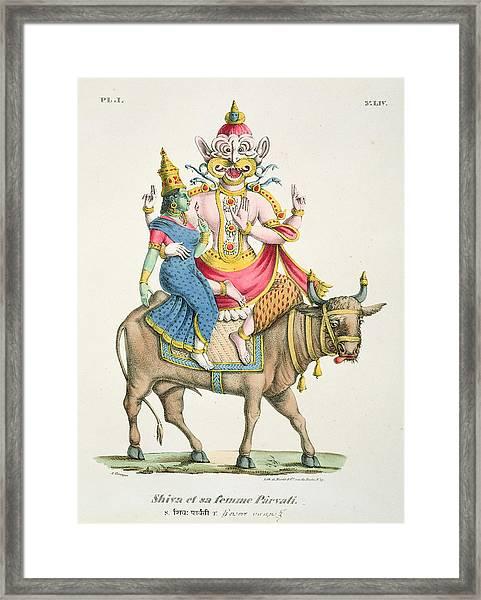 Shiva And Parvati, Engraved By De Marlet Framed Print