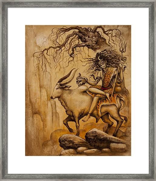 Shiva On Nandi Bull Framed Print