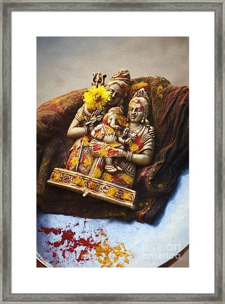 Shiva Parvati Ganesha Framed Print